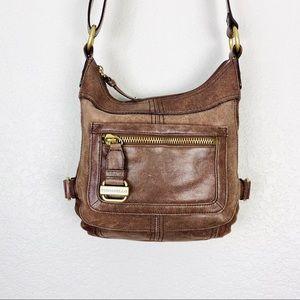TIGNANELLO Brown Leather & Brass Crossbody Bag
